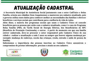 Comunicado da Secretaria Municipal de Assistência Social acerca da atualização do Cadastro Único – Bolsa Família