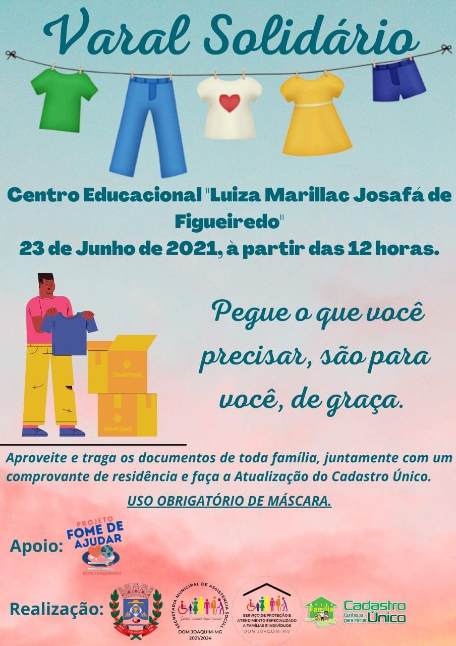A Prefeitura de Dom Joaquim recebeu através da Secretaria Municipal de Assistência Social de Dom Joaquim doações de agasalhos e cestas básicas a serem distribuídos para as famílias em situação de vulnerabilidade social.
