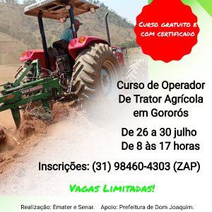 A Prefeitura de Dom Joaquim, em parceria com a Emater e com o Senar, divulga oportunidade de cursos de qualificação na área agrícola.