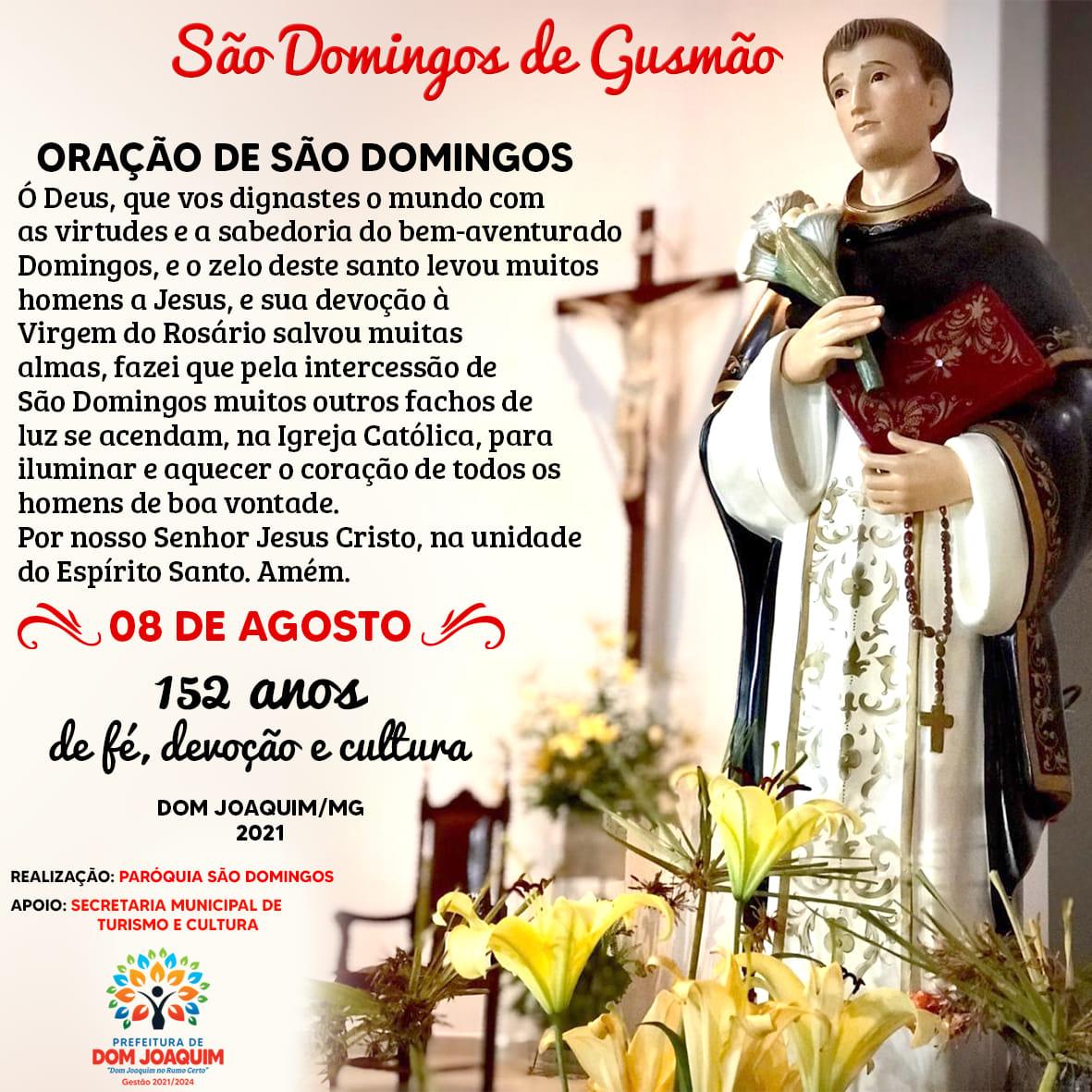 08 de Agosto dia de São Domingos de Gusmão