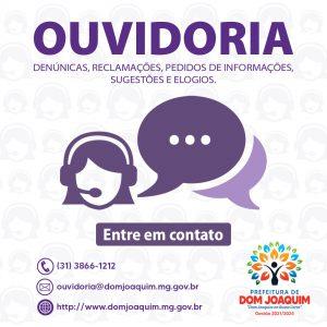Prefeitura Municipal de Dom Joaquim informa sobre o canal da Ouvidoria